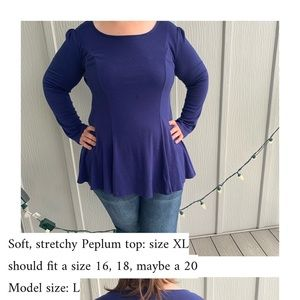 Soft, stretchy, cozy peplum blouse